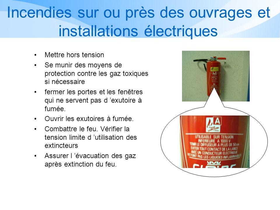 Incendies sur ou près des ouvrages et installations électriques