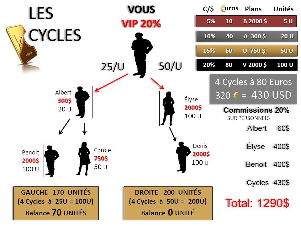 LES CYCLES VOUS VIP 20% 25/U 50/U 4 Cycles à 80 Euros 320 = 430 USD