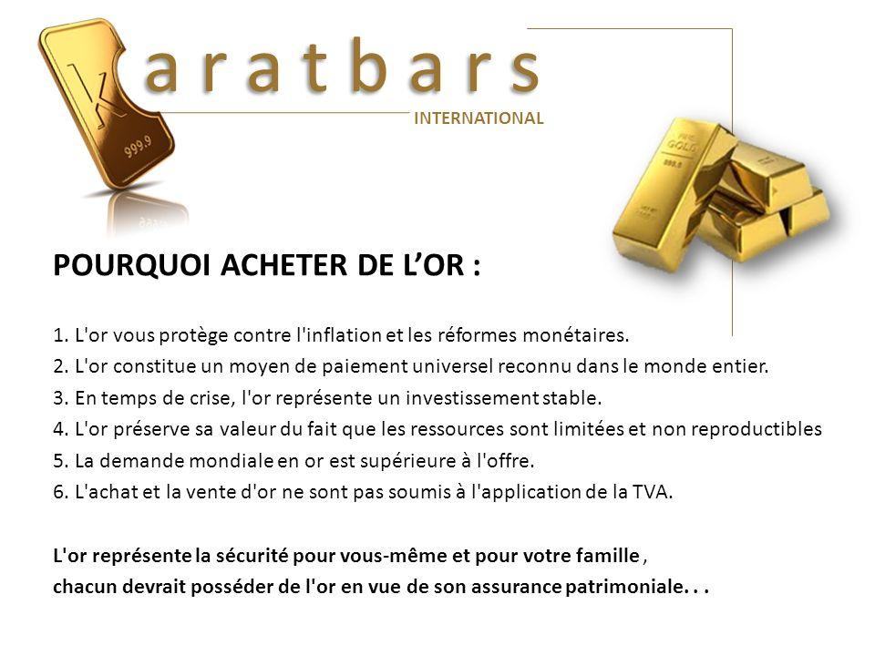 a r a t b a r s POURQUOI ACHETER DE L'OR :