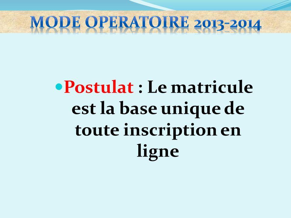 mode operatoire 2013-2014 Postulat : Le matricule est la base unique de toute inscription en ligne