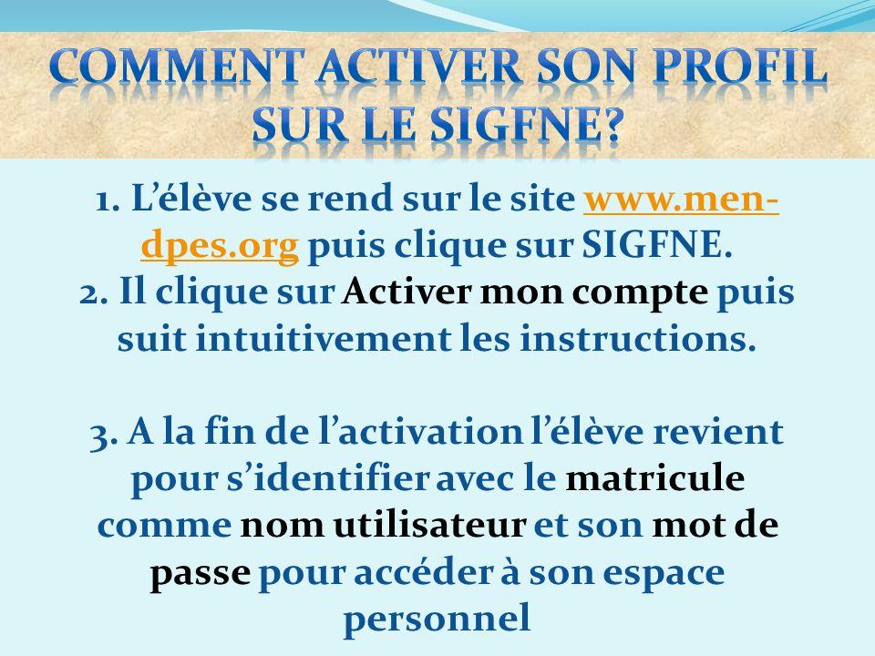 COMMENT ACTIVER SON PROFIL SUR LE SIGFNE