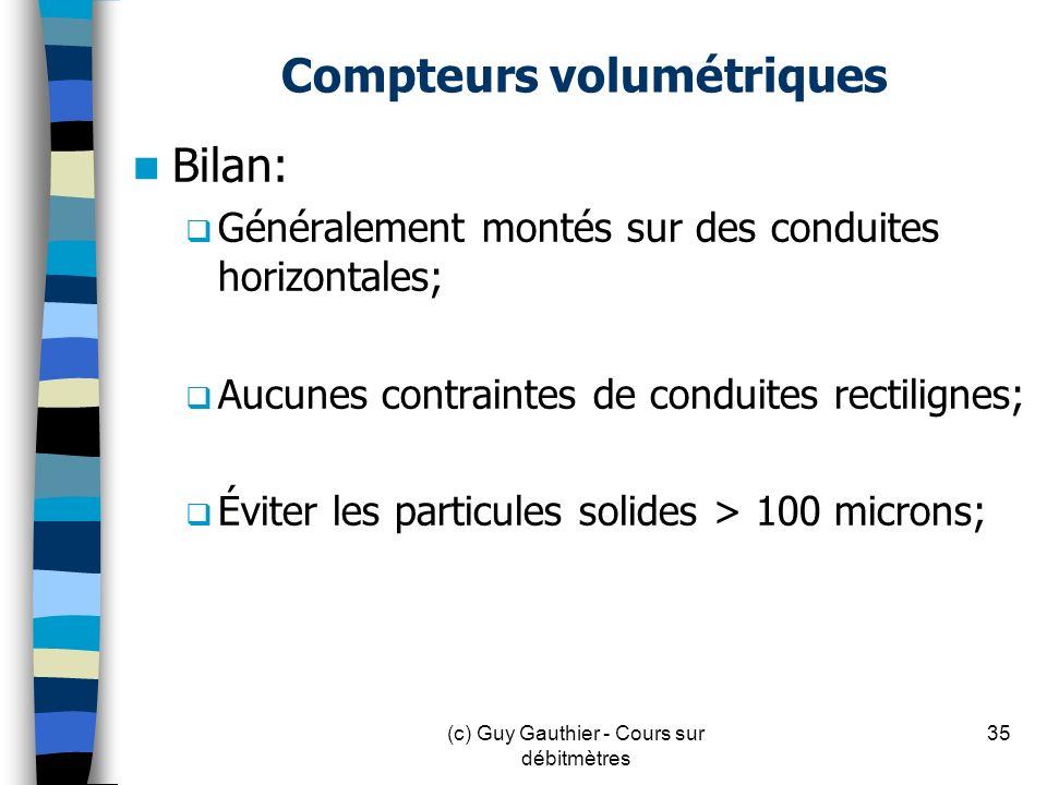 Compteurs volumétriques