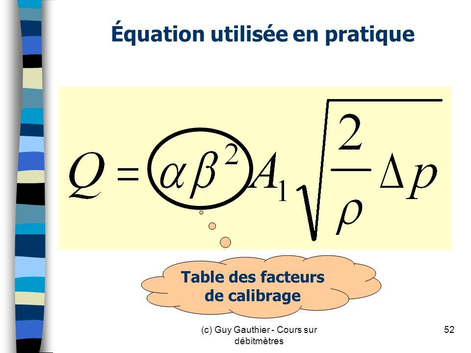 Équation utilisée en pratique
