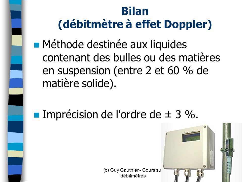 Bilan (débitmètre à effet Doppler)