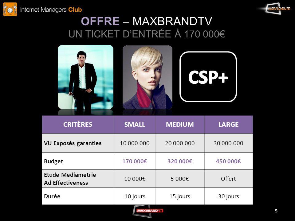 OFFRE – MAXBRANDTV UN TICKET D'ENTRÉE À 170 000€