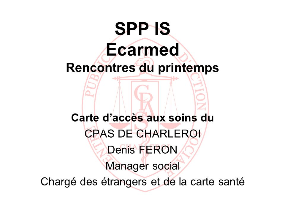 SPP IS Ecarmed Rencontres du printemps