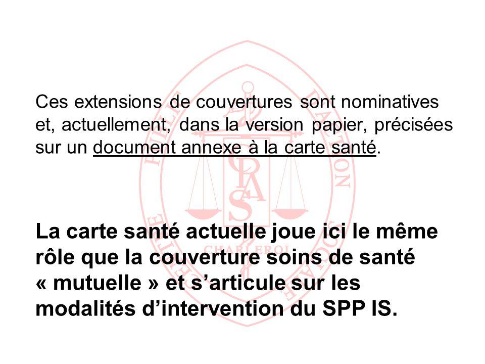 Ces extensions de couvertures sont nominatives et, actuellement, dans la version papier, précisées sur un document annexe à la carte santé.