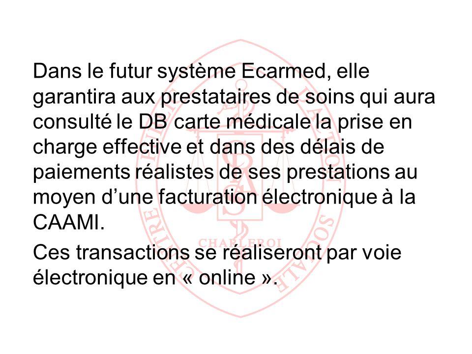 Dans le futur système Ecarmed, elle garantira aux prestataires de soins qui aura consulté le DB carte médicale la prise en charge effective et dans des délais de paiements réalistes de ses prestations au moyen d'une facturation électronique à la CAAMI.