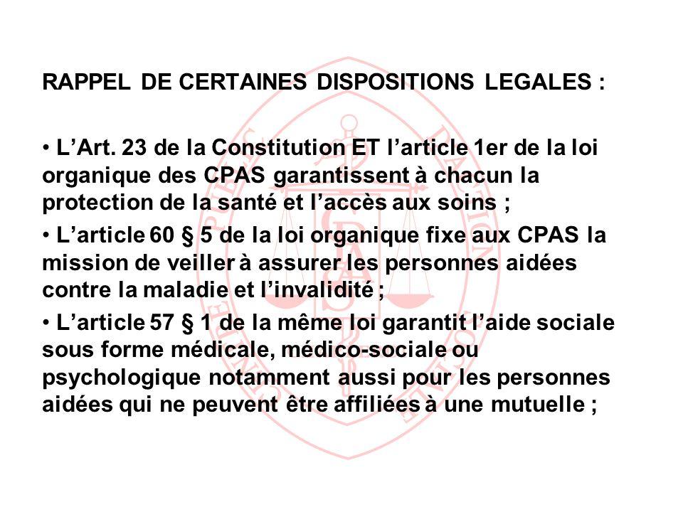 RAPPEL DE CERTAINES DISPOSITIONS LEGALES :