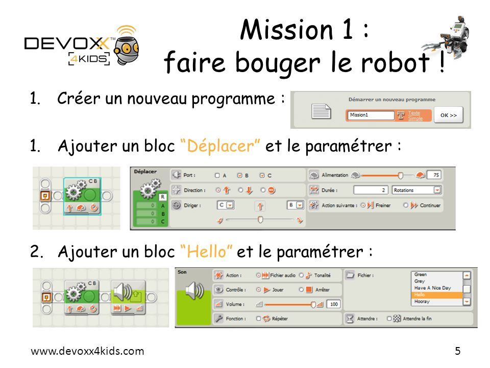 Mission 1 : faire bouger le robot !