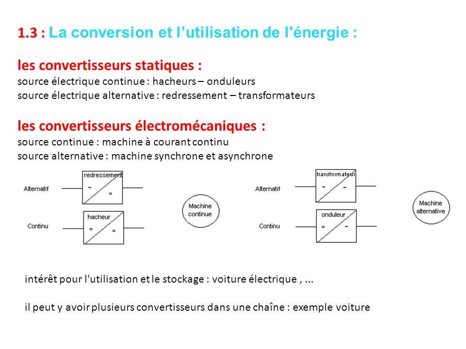 1.3 : La conversion et l'utilisation de l énergie :