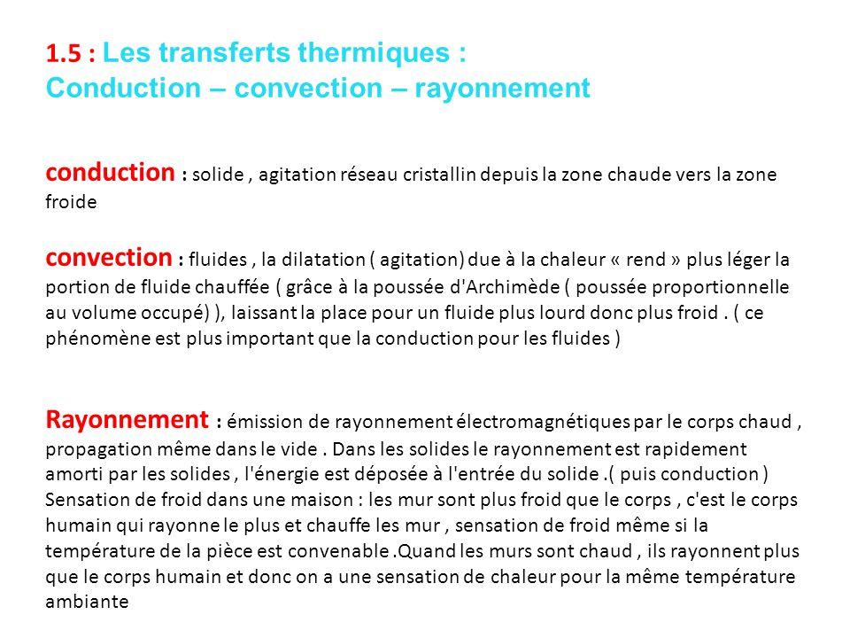 1.5 : Les transferts thermiques :