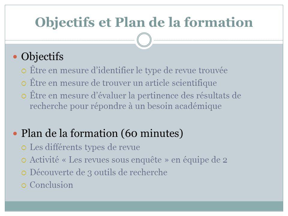 Objectifs et Plan de la formation