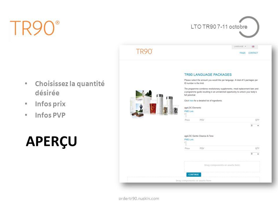 APERÇU Choisissez la quantité désirée Infos prix Infos PVP