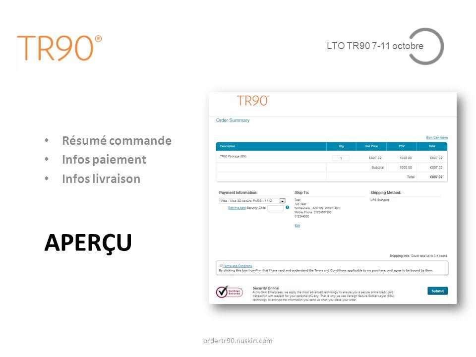 APERÇU Résumé commande Infos paiement Infos livraison