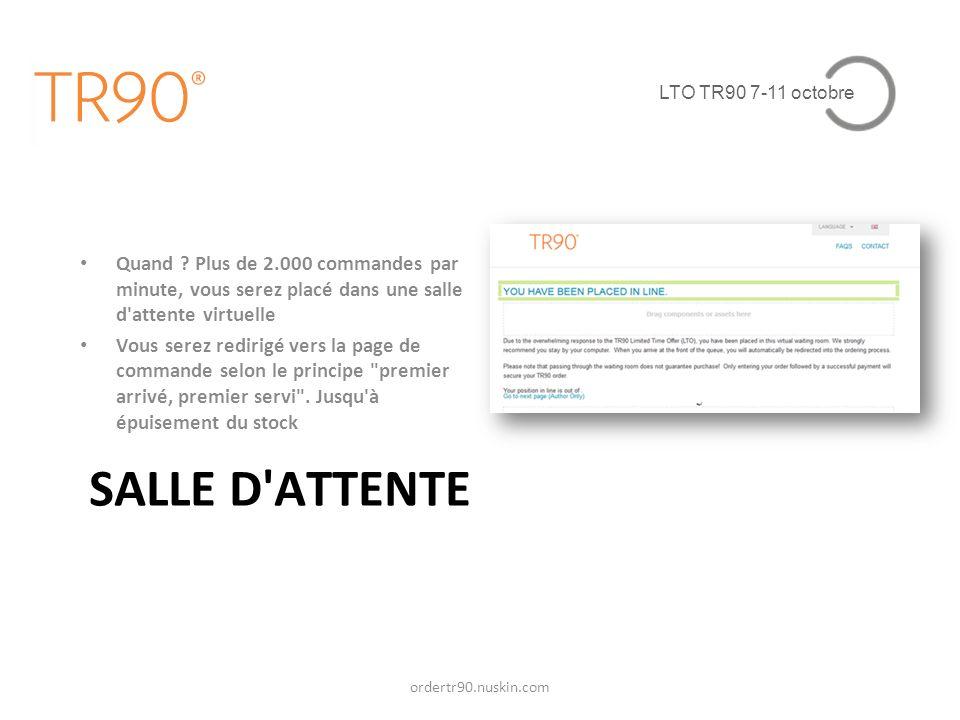 LTO TR90 7-11 octobre Quand Plus de 2.000 commandes par minute, vous serez placé dans une salle d attente virtuelle.