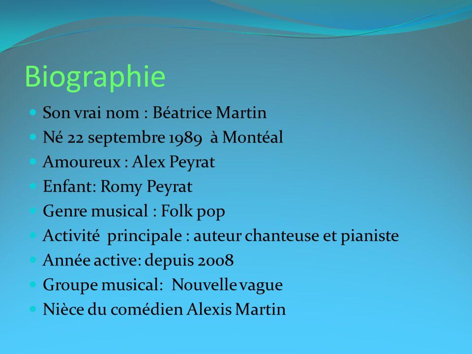 Biographie Son vrai nom : Béatrice Martin