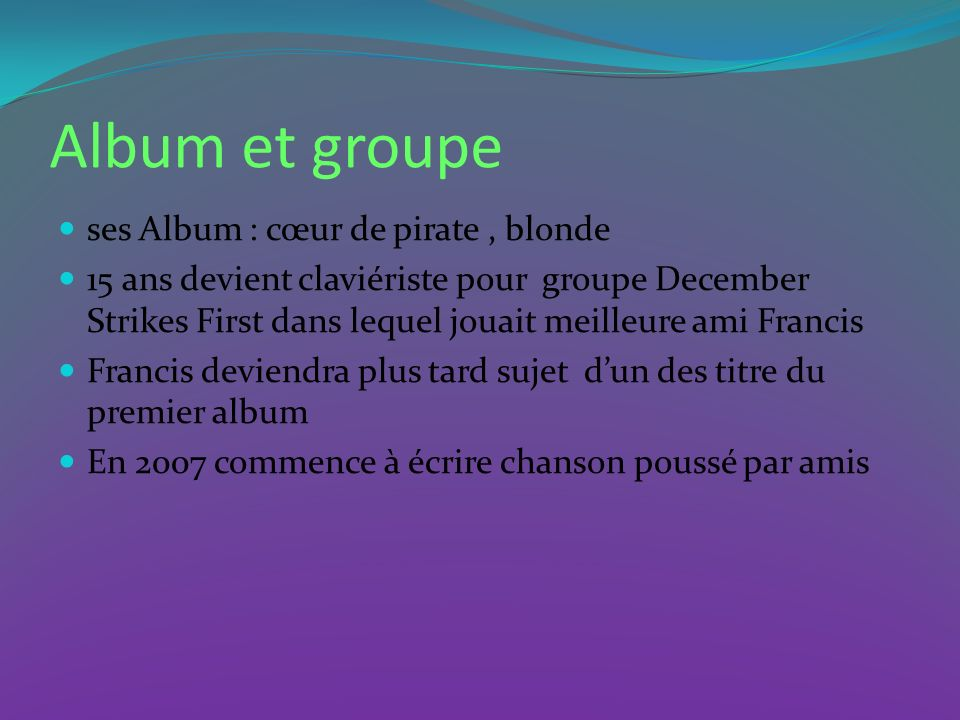 Album et groupe ses Album : cœur de pirate , blonde