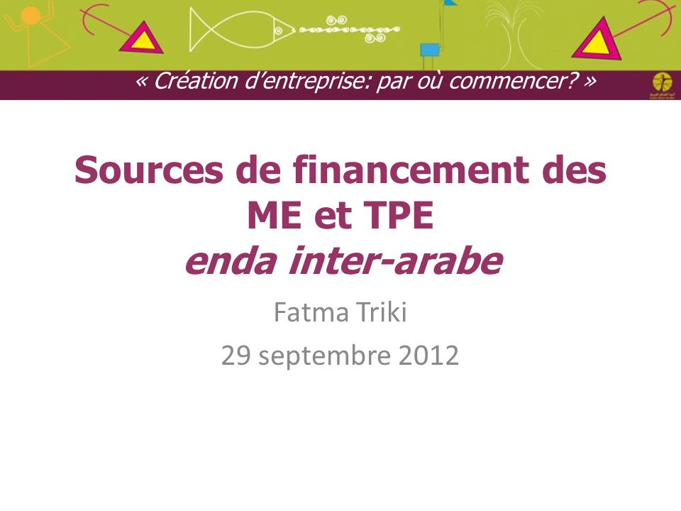 Sources de financement des ME et TPE enda inter-arabe