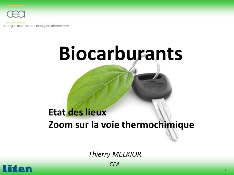 Biocarburants Etat des lieux Zoom sur la voie thermochimique