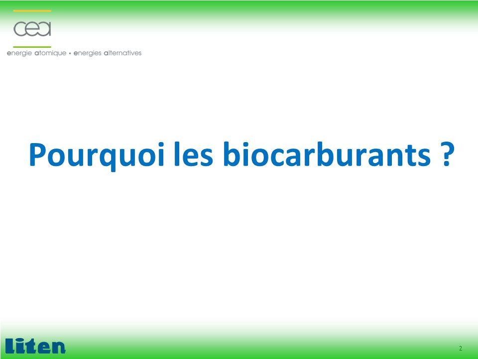 Pourquoi les biocarburants
