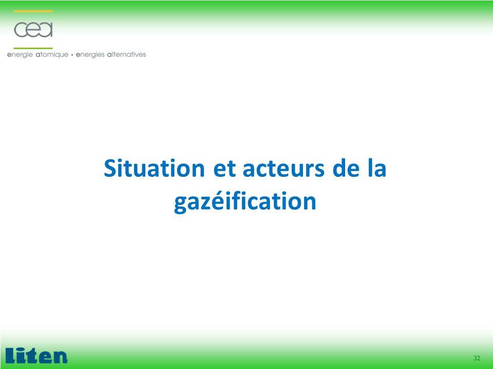 Situation et acteurs de la gazéification