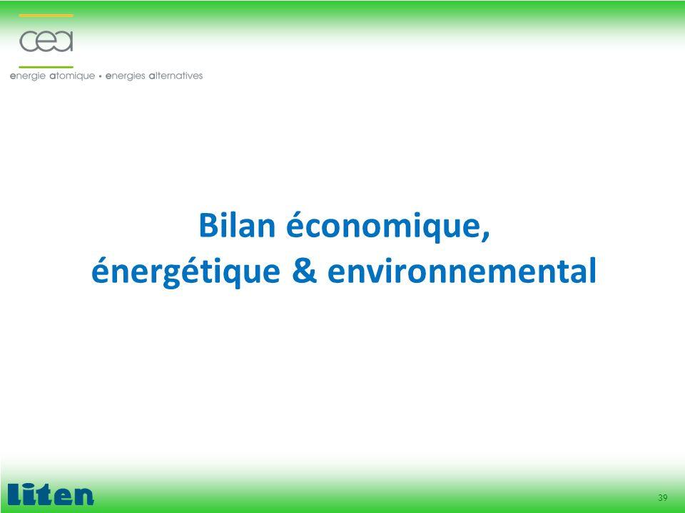 Bilan économique, énergétique & environnemental