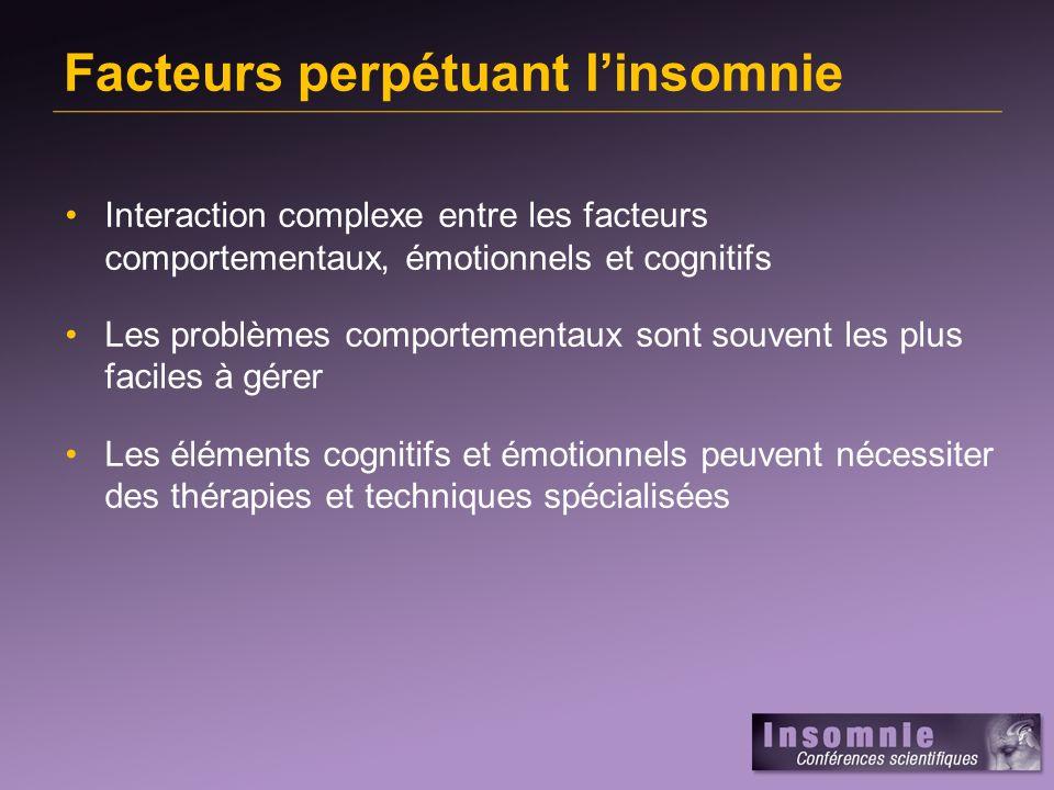 Facteurs perpétuant l'insomnie