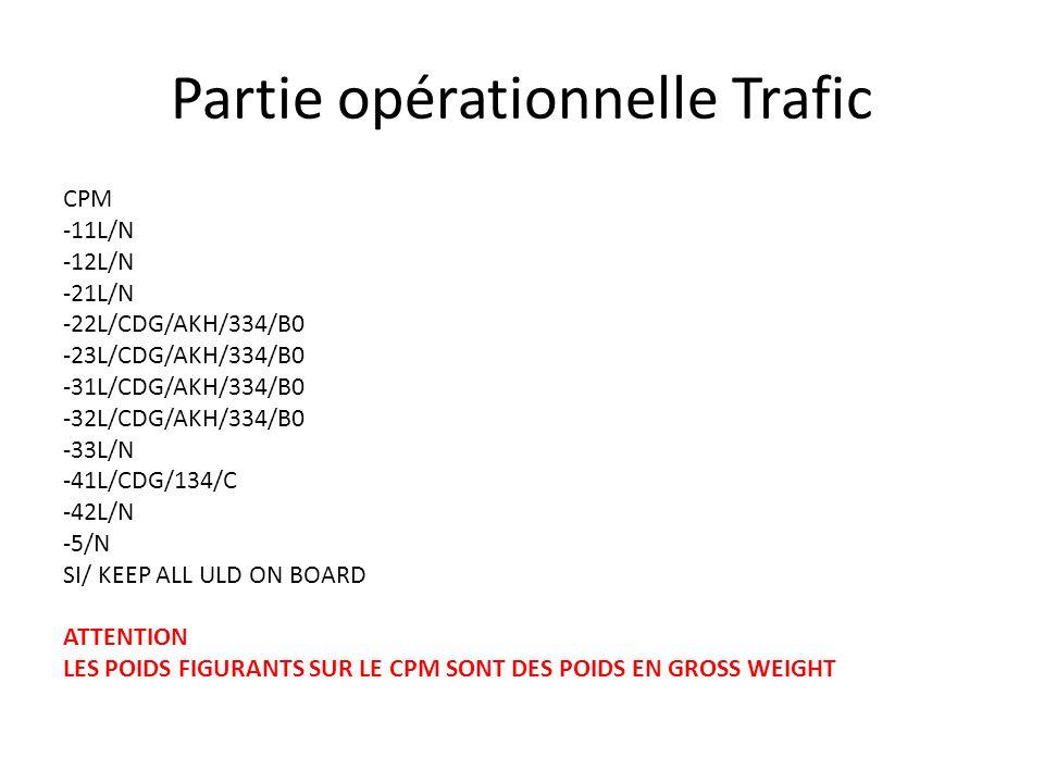 Partie opérationnelle Trafic