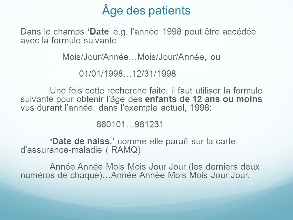 Âge des patients