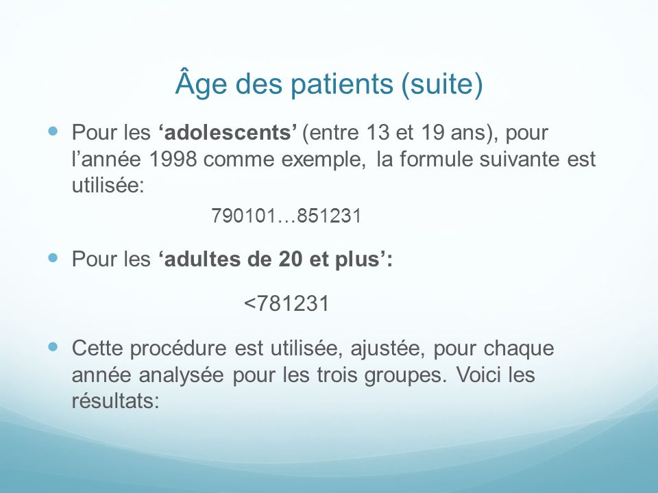 Âge des patients (suite)