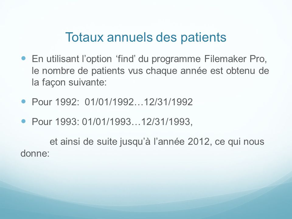 Totaux annuels des patients