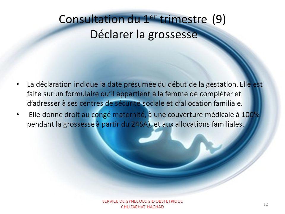 Consultation du 1er trimestre (9) Déclarer la grossesse
