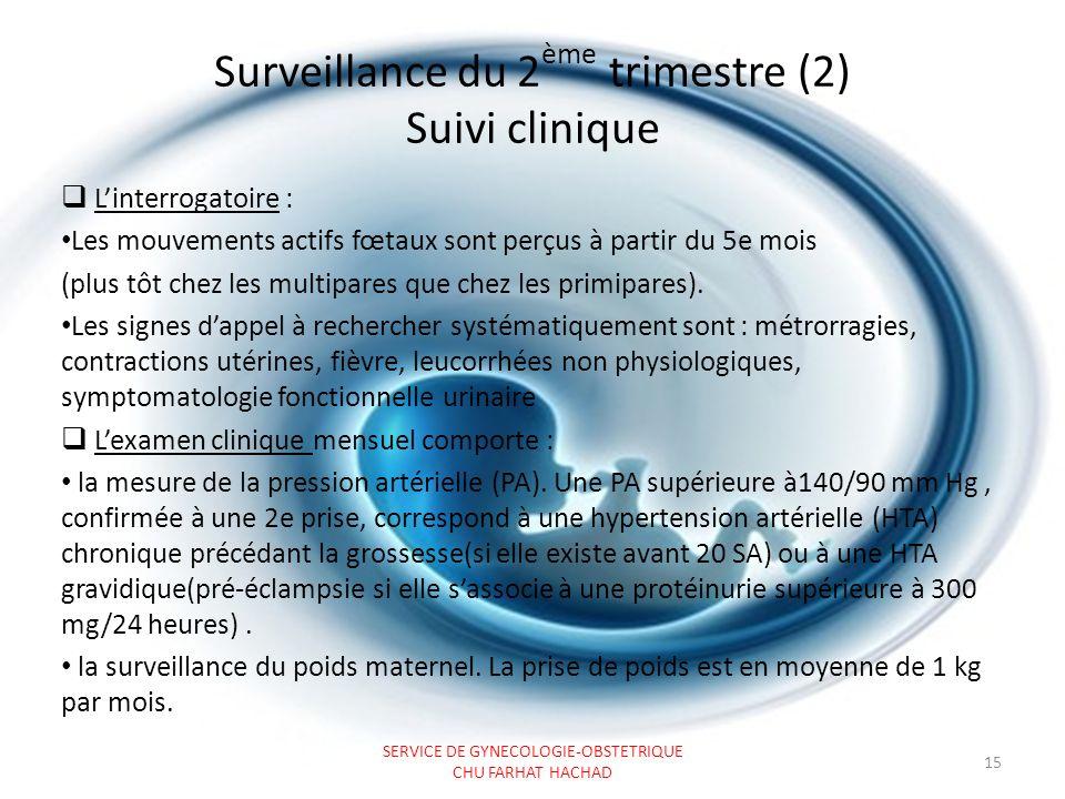 Surveillance du 2ème trimestre (2) Suivi clinique
