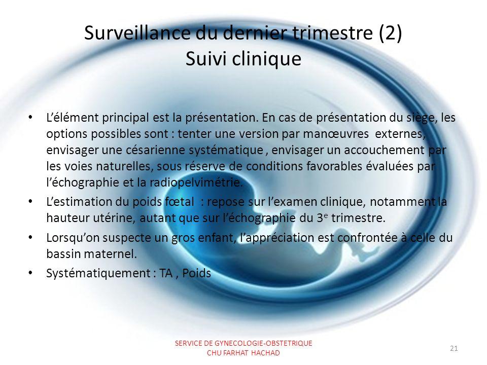 Surveillance du dernier trimestre (2) Suivi clinique