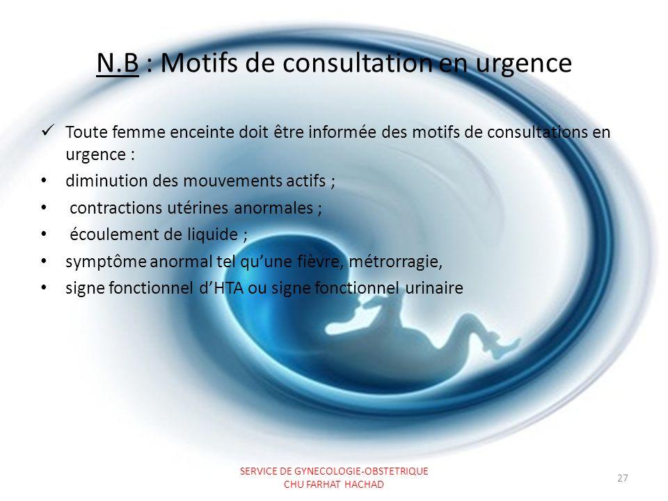 N.B : Motifs de consultation en urgence