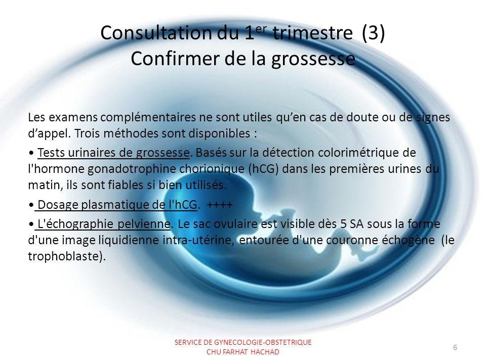 Consultation du 1er trimestre (3) Confirmer de la grossesse