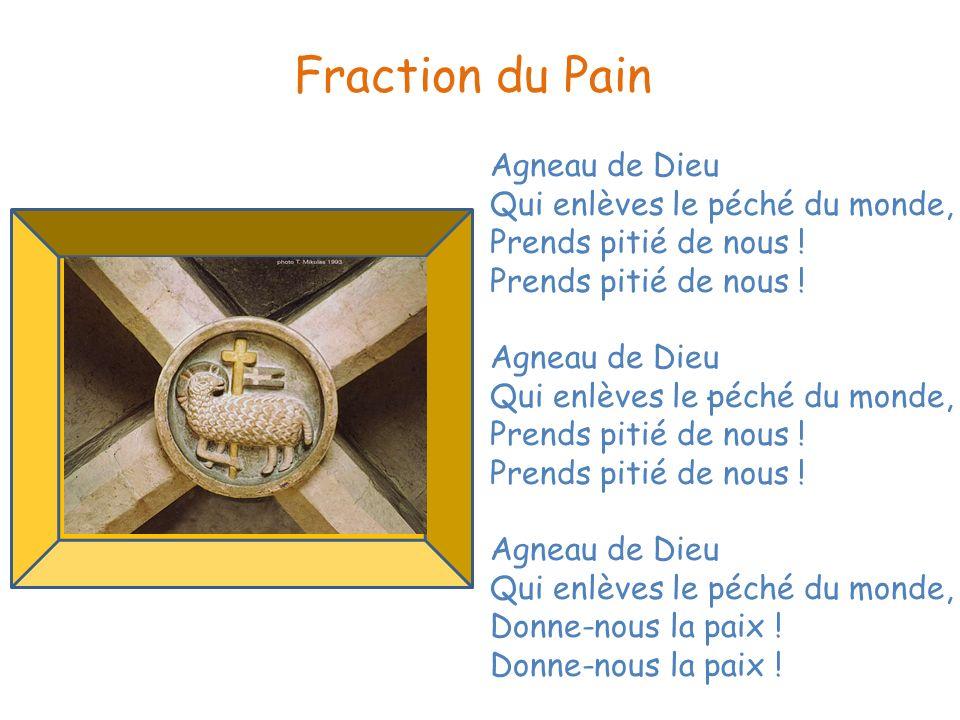 Fraction du Pain Agneau de Dieu Qui enlèves le péché du monde,