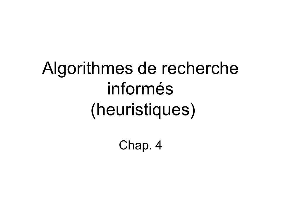 Algorithmes de recherche informés (heuristiques)