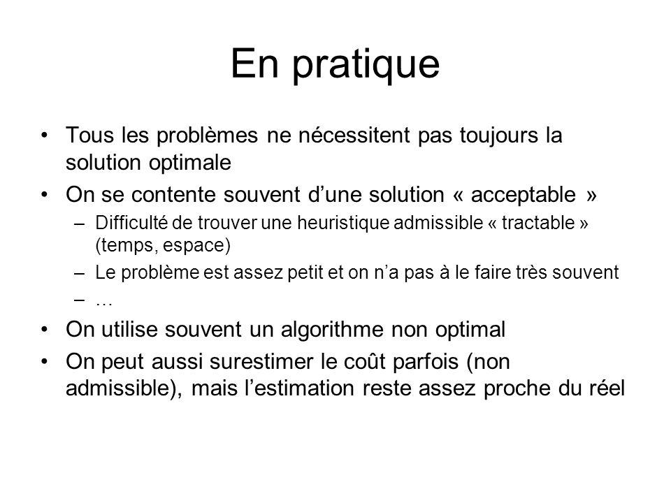 En pratique Tous les problèmes ne nécessitent pas toujours la solution optimale. On se contente souvent d'une solution « acceptable »