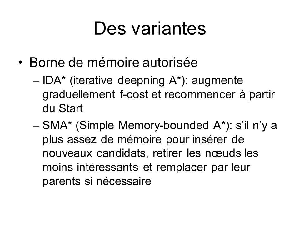 Des variantes Borne de mémoire autorisée