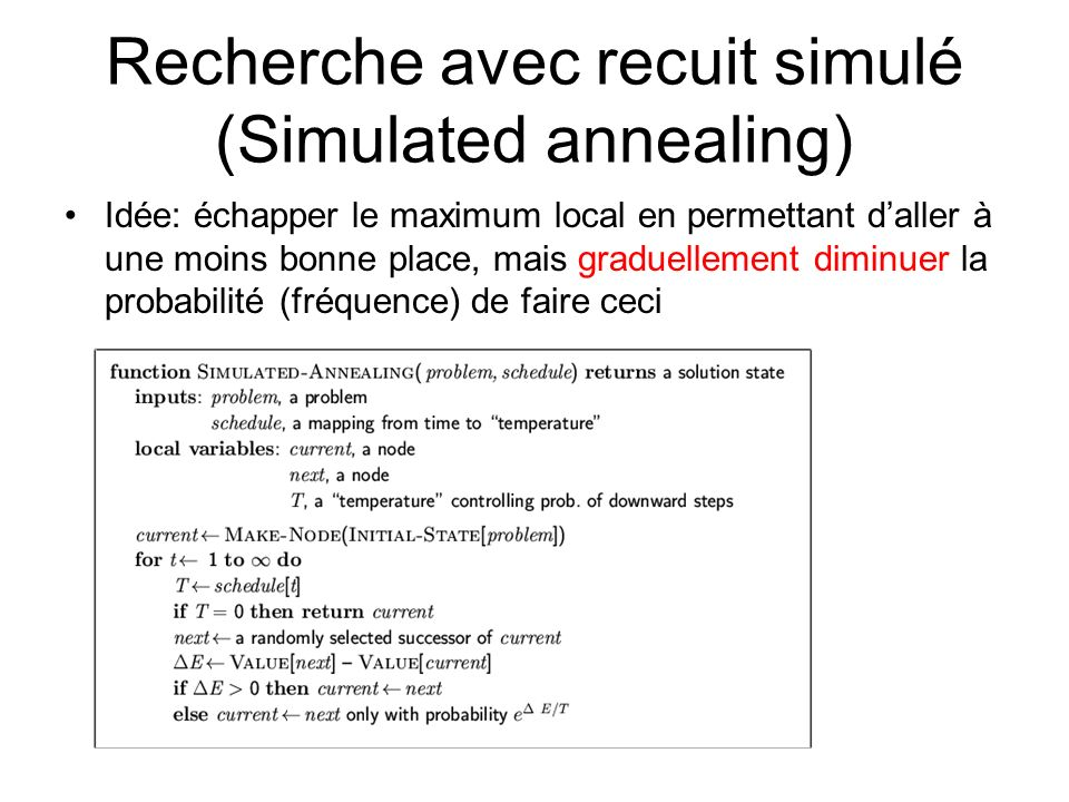 Recherche avec recuit simulé (Simulated annealing)