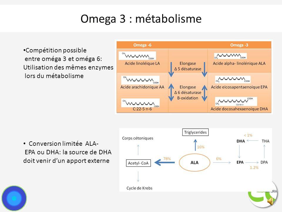 Omega 3 : métabolisme Compétition possible entre oméga 3 et oméga 6: