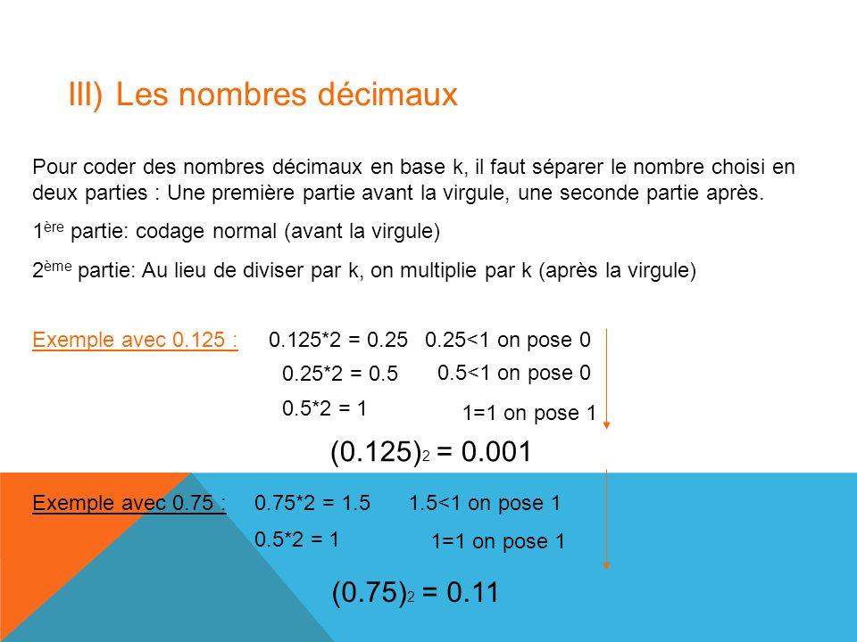 III) Les nombres décimaux