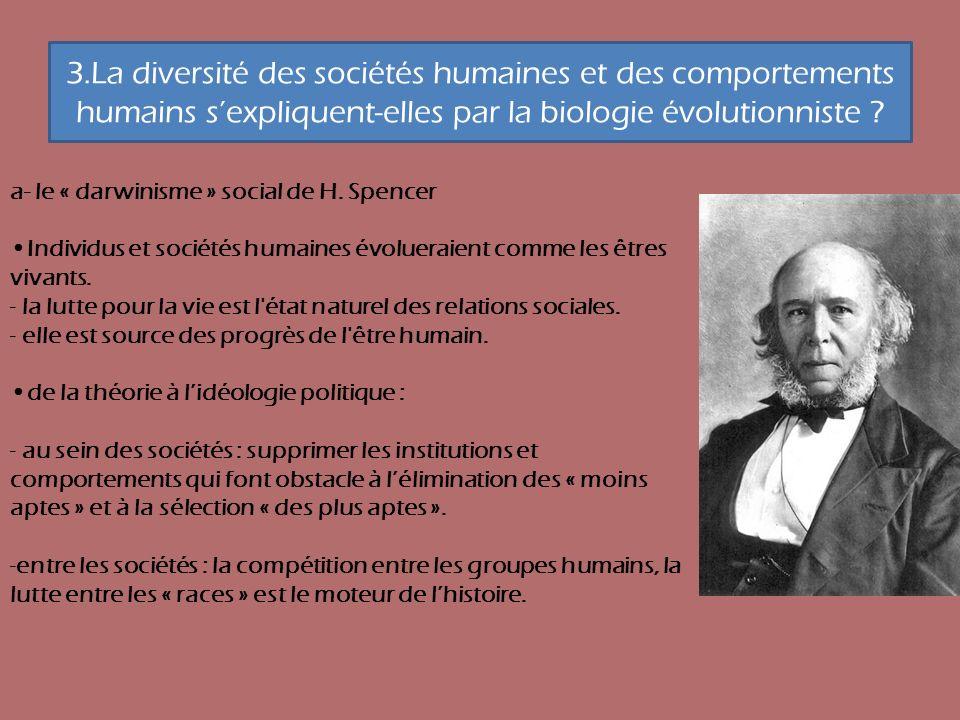 3.La diversité des sociétés humaines et des comportements humains s'expliquent-elles par la biologie évolutionniste