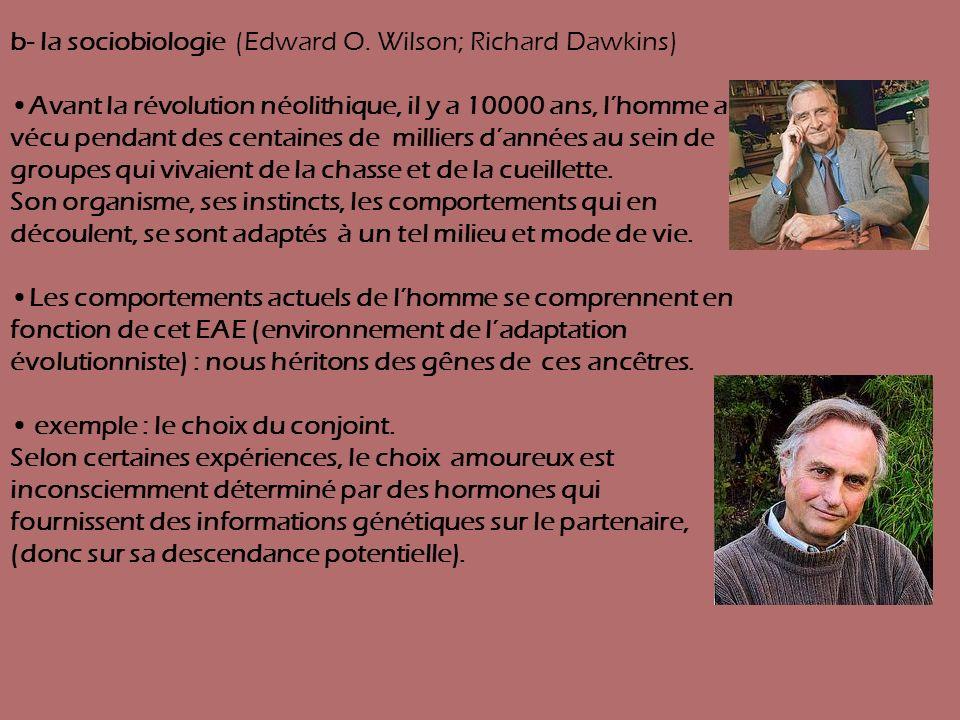 b- la sociobiologie (Edward O. Wilson; Richard Dawkins)