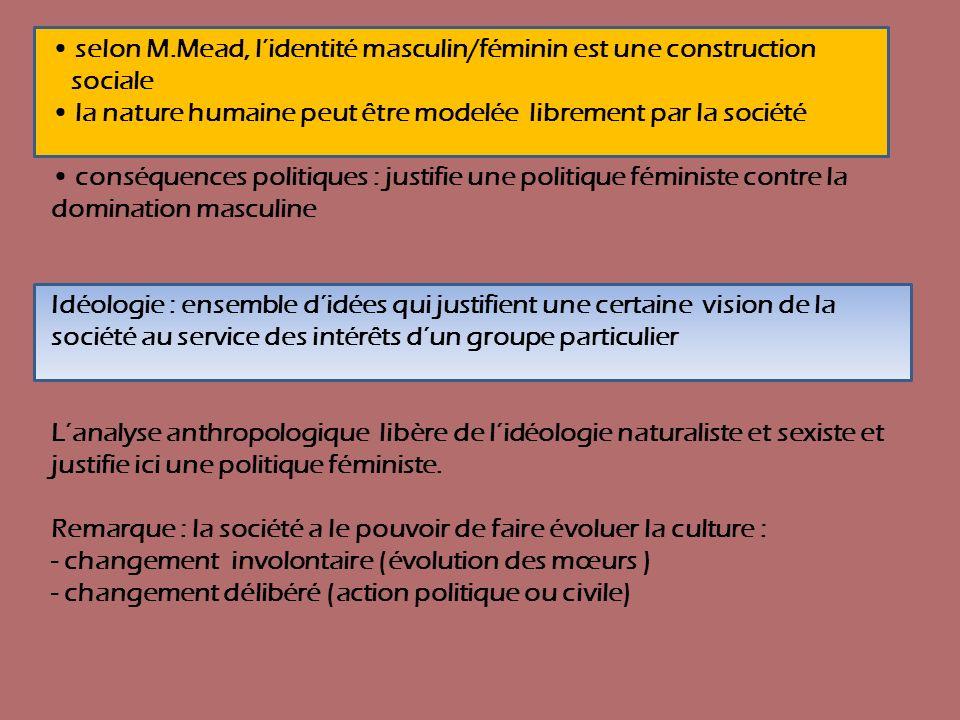 • selon M.Mead, l'identité masculin/féminin est une construction