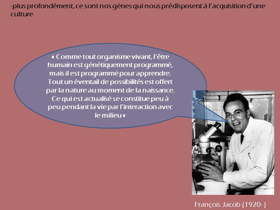 -plus profondément, ce sont nos gènes qui nous prédisposent à l'acquisition d'une culture