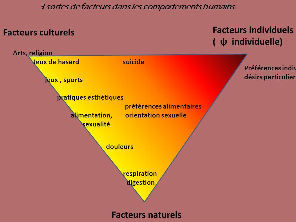 Facteurs individuels ( ψ individuelle) Facteurs culturels