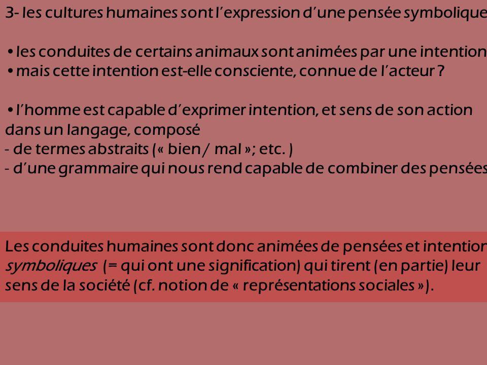 3- les cultures humaines sont l'expression d'une pensée symbolique